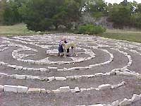 White Greyhound and person in middle of labyrinth made of white stone.